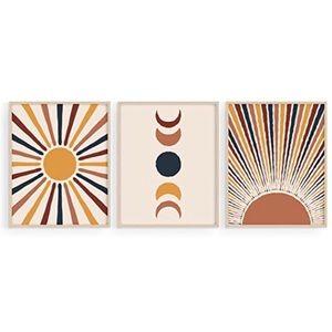 Set of 3 Mid Century Modern Wall Art Prints Boho